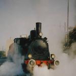Die ehemalige Werkslok 1 der Städtischen Werke Nürnberg. Legt an ihrer ehemaligen Wirkungsstätte eine Pause ein, bevor es am nächsten Tag zur Lokparade weiter geht. Aufnahme am 15. Oktober 1999