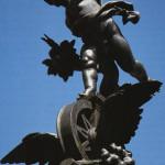 """Nürnberg; Die Spitze des """"Kunstbrunnens"""", von Professor Schwabe errichtet. Aufgestellt am Plärrer zur 50-Jahr-Feier der Ludwigs-Eisenbahn am 7. Dezember 1895."""